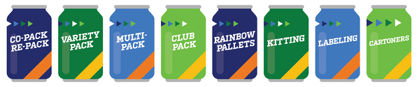The Shippers Group offers a variety of packaging and co-packing services for the beverage industry. At The Shippers Group's Dallas, TX location, we offer the following: co-packing and repacking, variety packs, multi-packs, club packs, rainbow pallets, kitting, labeling, and cartoners.
